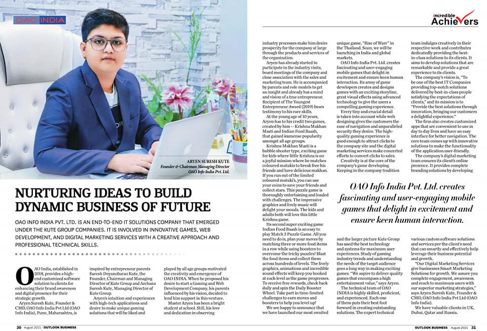 Master Aryen Suresh Kute (Founder and CMD- OAO INDIA) featured in the leading 'Outlook Business' Magazine